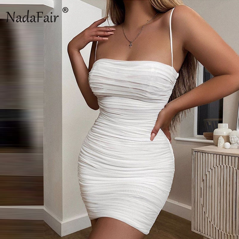 Nadafair Mesh <font><b>Sexy</b></font> Mini <font><b>Bodycon</b></font> <font><b>Dress</b></font> 2019 Spaghetti Strap <font><b>Club</b></font> Party Ruched Pencil <font><b>Dresses</b></font> White Black Transparent Sundress image