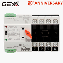 GEYA W2R Mini ATS 4P Automatic Transfer Switch Controller Electrical Type ATS Max 100A 4POLE Din Rail Electric Switch 100a three phase genset ats automatic transfer switch 4p ats 100a