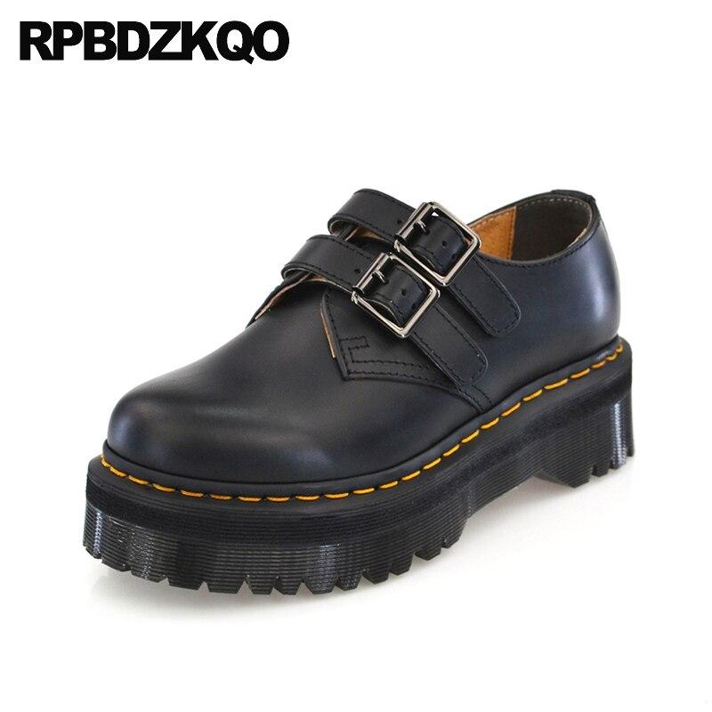 designer genuine leather thick sole elevator black vintage women oxfords shoes creepers muffin slip resistant platform brand