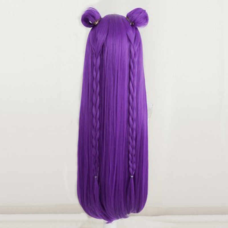 LOL juego Cosplay peluca KDA POP/estrella Kaisa Cosplay pelucas mujer larga recta púrpura peluca LOL KDA Kaisa KPOP la piel del pelo
