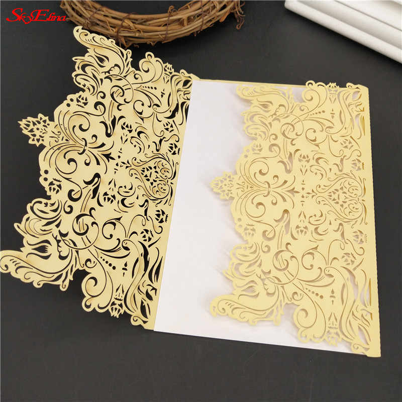 30pcs Luxury Wedding Invitations Card Vintage Laser Cut Elegant Birthday Invitation Card Wedding Decoration Party Supplies 5z