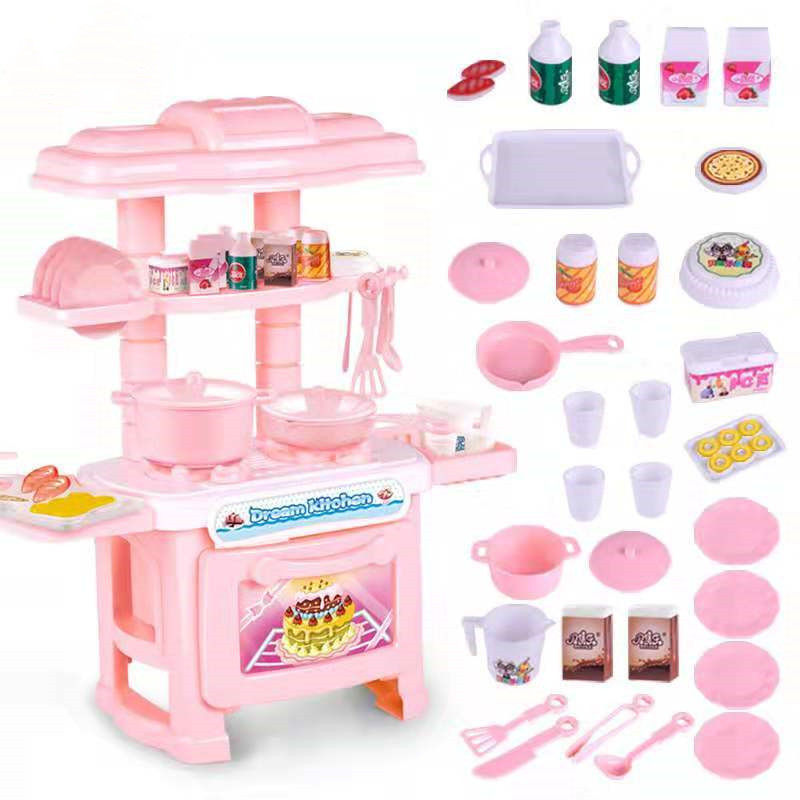Girls Toys Girl Simulated Mini Kitchen Pink Blue Toys Suit  For Girl Baby Classic Pretend Play Kitchen Toys