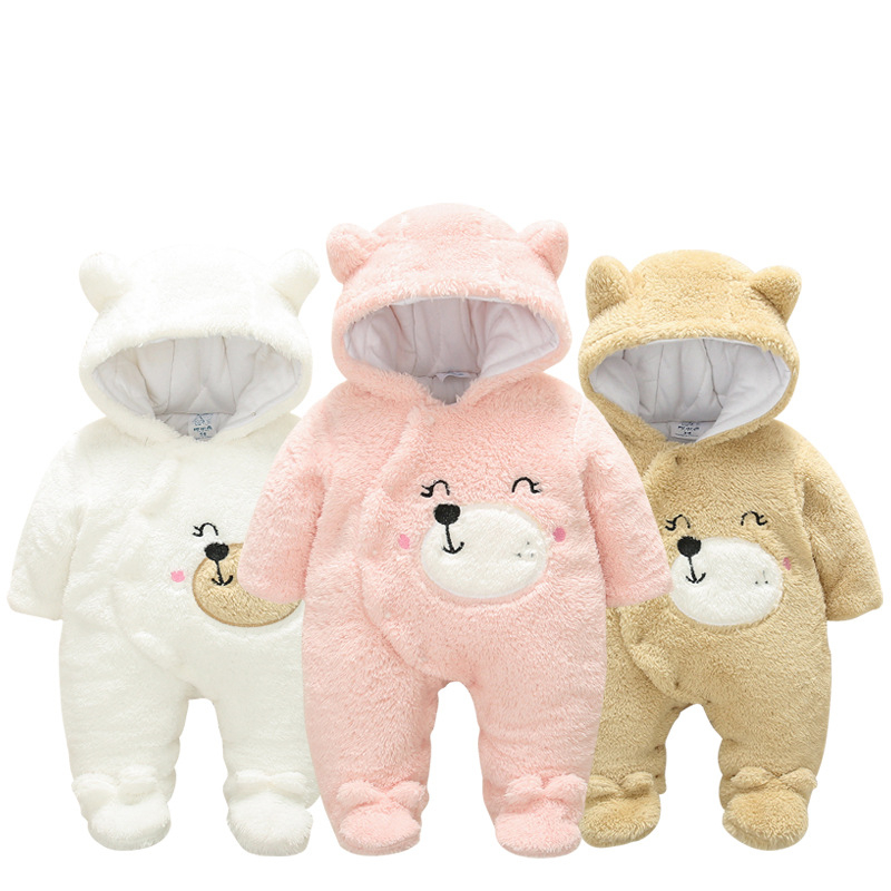 Newborn Winter Hoodie Baby Clothes Infant Flannel Climbing Suits New Spring Outwear Toddler Rompers 3m-12m Boy Girls Jumpsuit