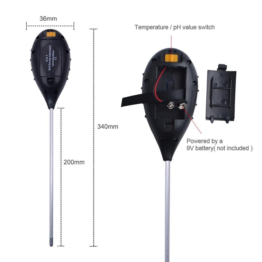 4 in1 Plant Earth Soil PH Moisture Light Soil Meter Thermometer Temperature Tester Sunlight Tester For Gardening Farming