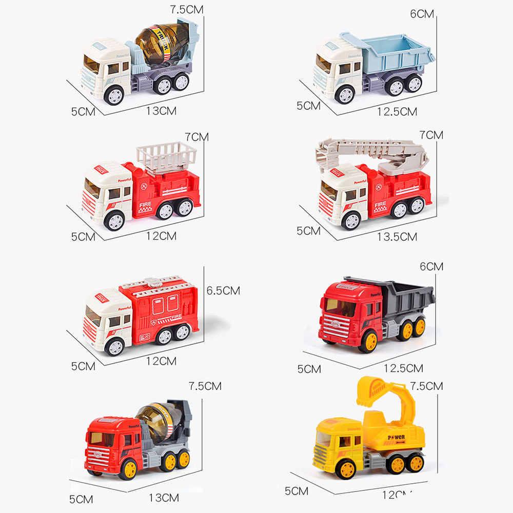 Natal Mini Model Kendaraan Alloy Diecast Teknik Konstruksi Truk Pemadam Kebakaran Ambulans Mobil Transportasi Pendidikan Anak Hadiah