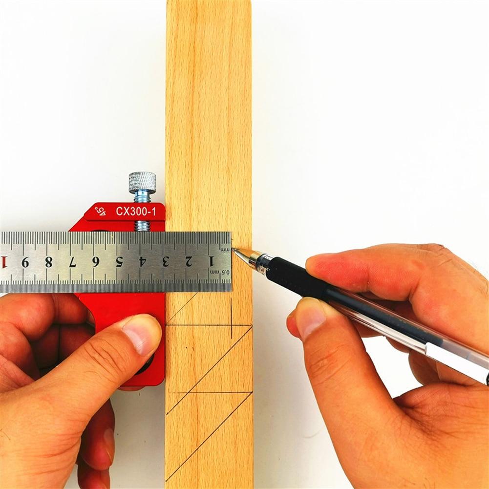 Regla de marcado de ultra precisi/ón 400mm regla de orificio de tipo T Herramienta de medici/ón de carpinter/ía de acero inoxidable para carpinter/ía