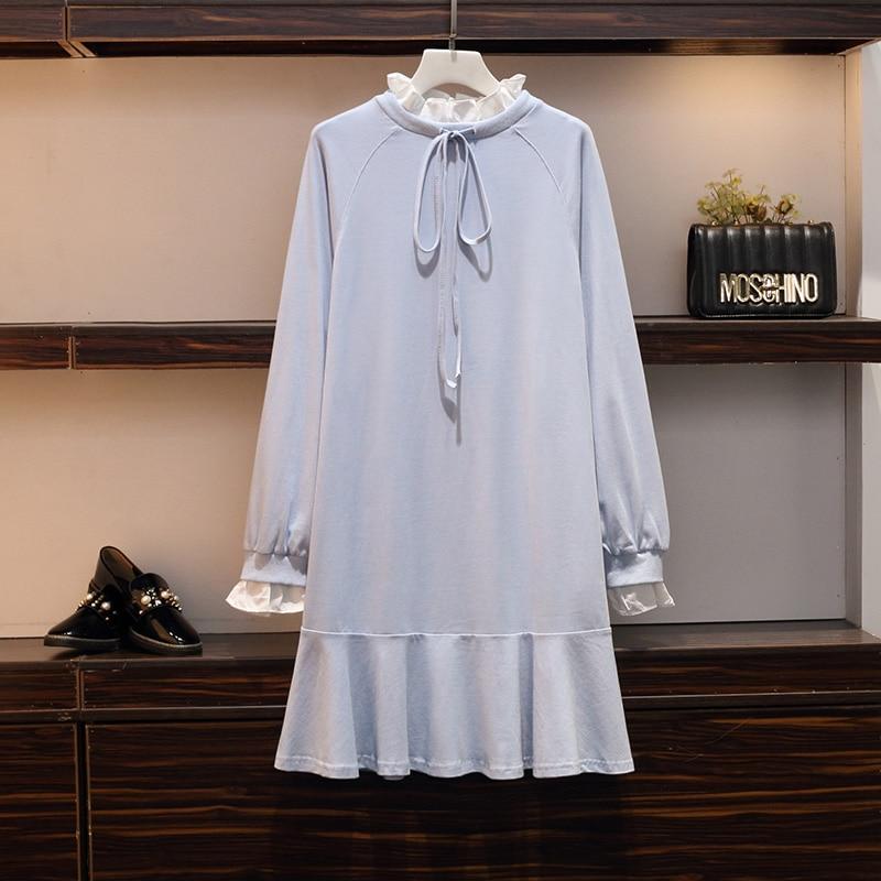XL-5XL grande taille femmes coton sweat robe automne 2019 mode à manches longues Patchwork lâche décontracté à volants robes décontractées