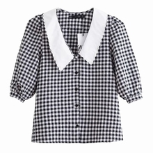 New 2020 Women Sweet Embroidery Turn Down Collar Patchwork Plaid Print Smock Blouse Office