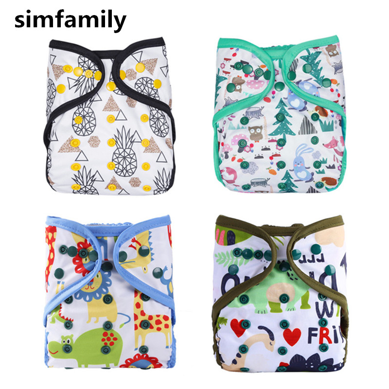 [simfamily]1PC Reusable Simfamily Diaper Cover Double Gussets Colorful Double Row Snap,For 3-15kgs, 3-36 Months Baby
