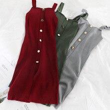 Mooirue 2019 Autumn Winter Vestidos Women Kintting Butting Slim Midi Dress Sleeveless Tank Vintage Solid Party