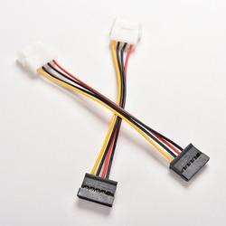2 pçs/lote 4 pinos ide molex para 15 pinos serial ata sata hdd disco rígido adaptador de alimentação cabos