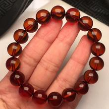 Certificate 10.5mm Natural Blood Amber Bracelet Women Party Gift Stretch Crystal Stretch Clear Round Beads Bracelet AAAAA