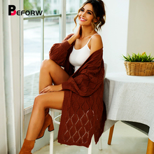 BEFORW Fall Knitted Hollow Out Long Cardigan Sweater Women Loose Cardigan Sweaters Jumper Winter 2019 Casual Cardigan Coat