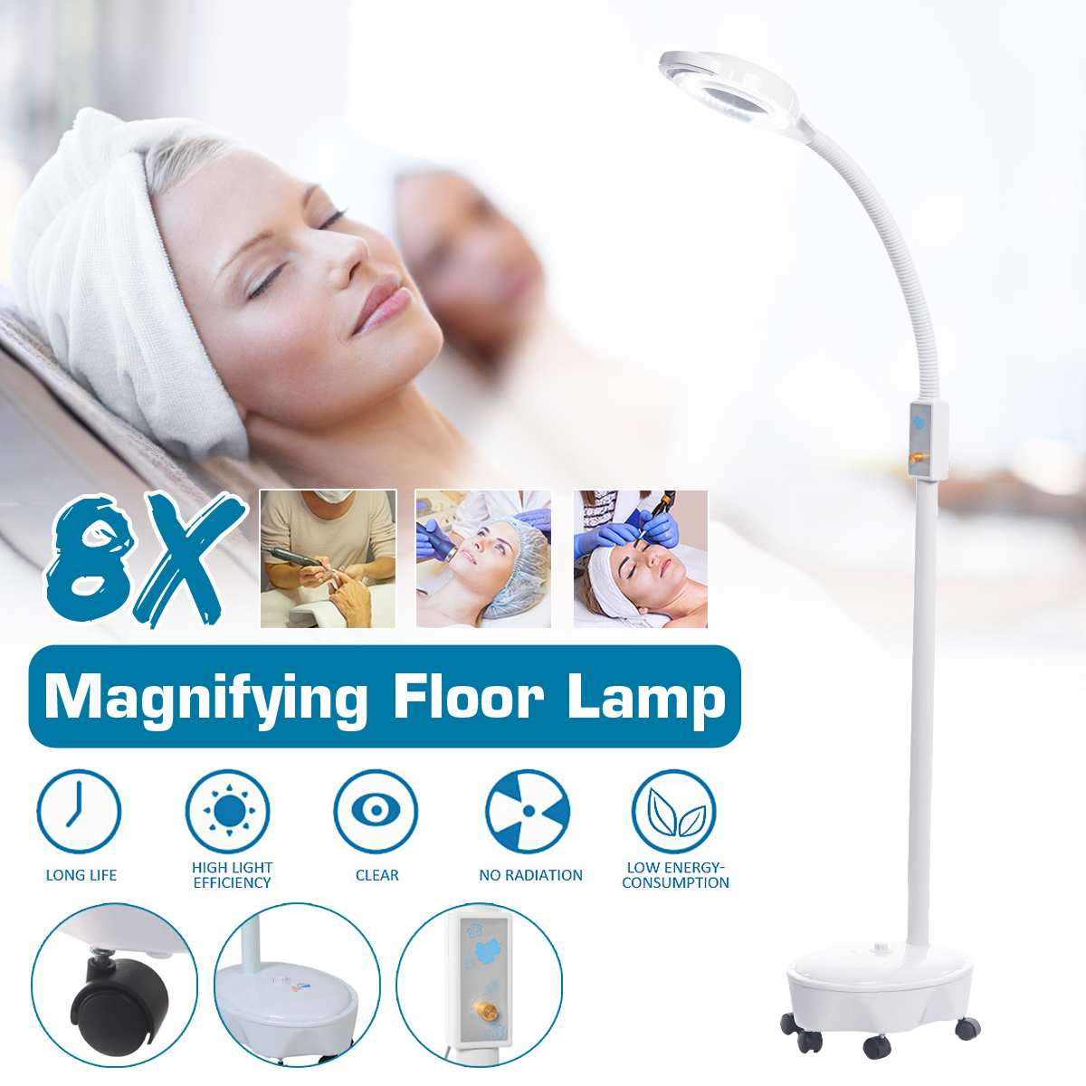 Pro 8X Diopter 120 LED Magnifying Floor Stand Lamp Magnifier Glass Cold Ligth Len Beauty Facial Light For Salon Nail Tattoo 220V
