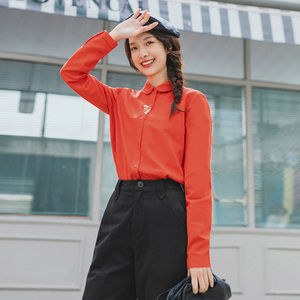 Image 3 - INMAN 2020 Spring New Arrival Literary Retro Embroidered Lapel Single breasted Long Sleeve Blouse