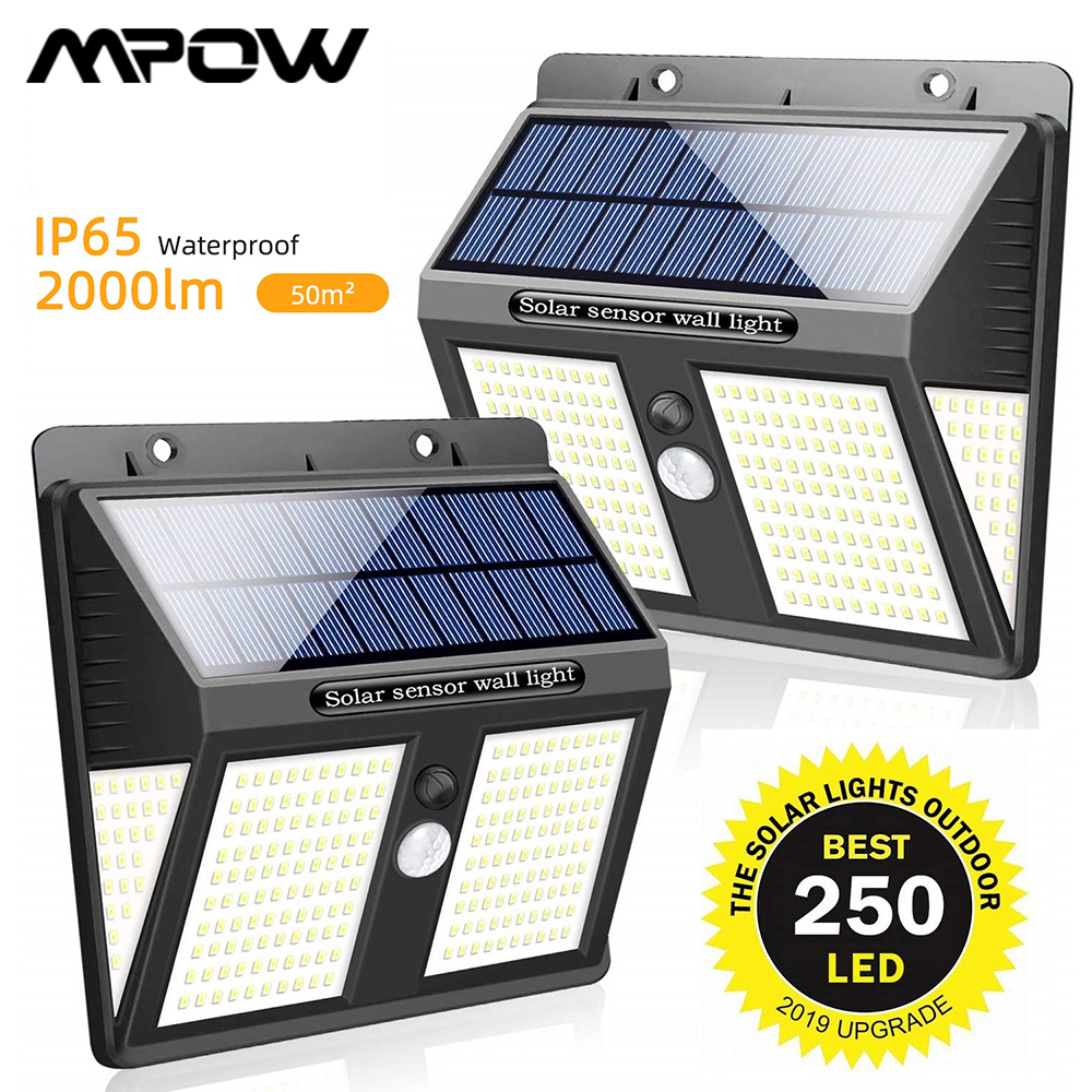 250 LED Solar Wall Lights Wireless PIR Motion Sensor Lighting 1/2/4 Pcs Waterproof IP65 Mpow Garden Wireless Security Wall Light