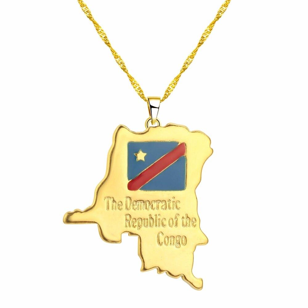 CHENHXUN CHENGXUN кулон Карта Африки ожерелье подарок золотой цвет длинная цепочка торговля Африканская Карта для мужчин и женщин модный подарок для ювелирных изделий - Окраска металла: 04