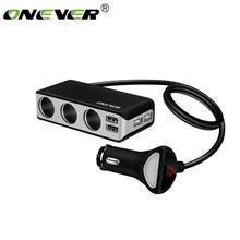 Onever, 4 USB порта, 3 выхода, розетка для автомобильного прикуривателя, разветвитель, зарядное устройство, 120 Вт, мощность A, USB Автомобильное зарядное устройство, поддержка дисплея, Volmeter