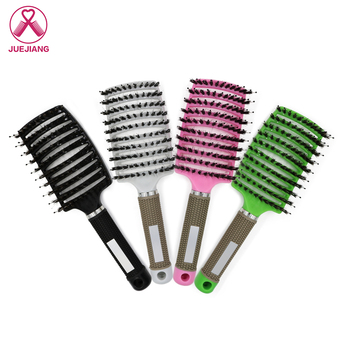 Women Bristle Nylon Hair Brush Wet Curly Detangle Scalp Massage Comb For Salon Hairdressing Styling Tools 4 color women hair scalp massage comb bristle nylon hairbrush wet curly detangle hair brush for salon hairdressing styling tools