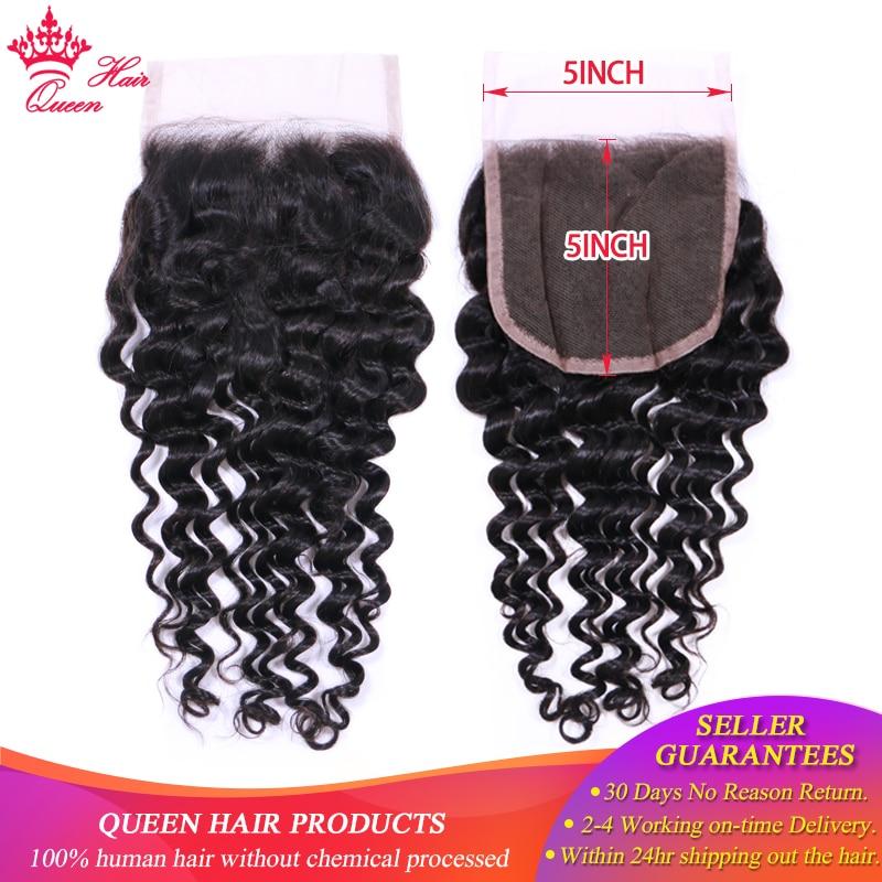 Queen Hair Products 5x5 Lace Closure Brazilian Deep Wave Hair 100% Human Hair Natural Color Human Hair Fast Free Shipping(China)