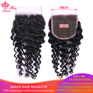 Queen Hair Products 5x5 Lace Closure Brazilian Deep Wave Hair 100% Human Hair Natural Color Human Hair Fast Free Shipping(China)