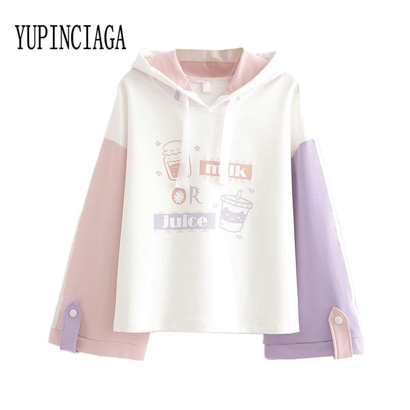 Women's Print Patchwork Hooded Sweatshirt 2020 Spring Loose Long Sleeve Hoodies Sweet Style Girl Fashion Pullovers YUPINCIAGA