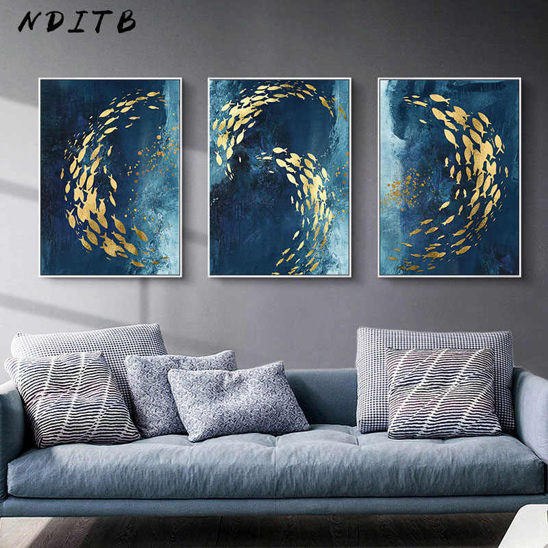 Golden Fish Abstract Wall Poster Modern Style Canvas Print Painting Contemporary Art Living Room Entrance Decoration Picture