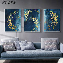 Golden Fish Abstract Wall Poster Modern Style Canvas Print Painting Contemporary Art Living Room Entrance Decoration Picture(China)