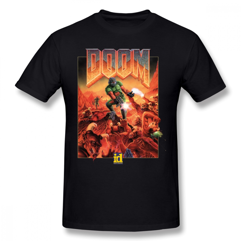Wolfenstein T Shirt DOOM CLASSIC COVER T-Shirt Short Sleeves Male Tee Shirt Classic Printed 100% Cotton Fun Tshirt