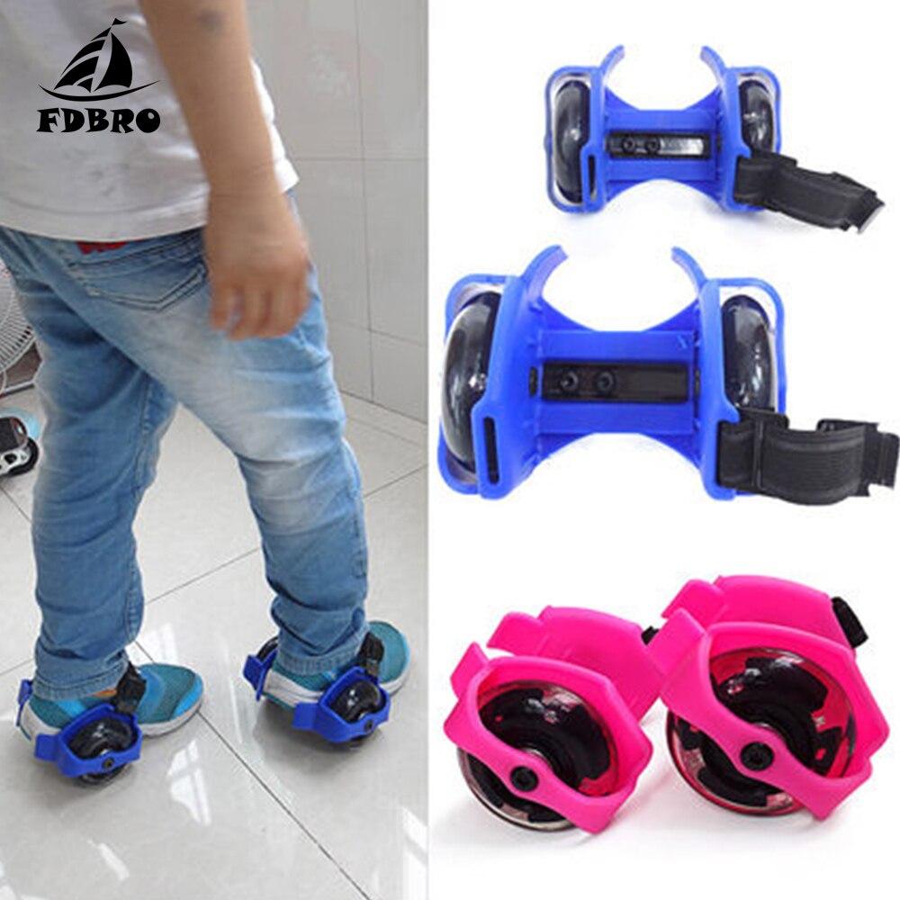 FDBRO Flashing Roller Whirlwind Pulley Wheels Heel Roller Adjustable Simply Roller Skating Shoes For Kids Adult Skateboard