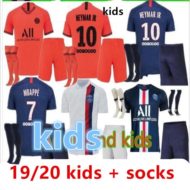 2019 Psg Soccer Football MBAPPE NEYMAR JR CAVANI VERRATTI KIMPEMBE DANI ALVES DI MARIA Children Kit 19/20 Psg Kids Jerseys