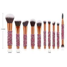цена на 10pcs Makeup Brushes Set Diamond Handle Foundation Powder Eyeshadow Eyebrow Brush Beauty Make Up Tools With Bag Wholesale