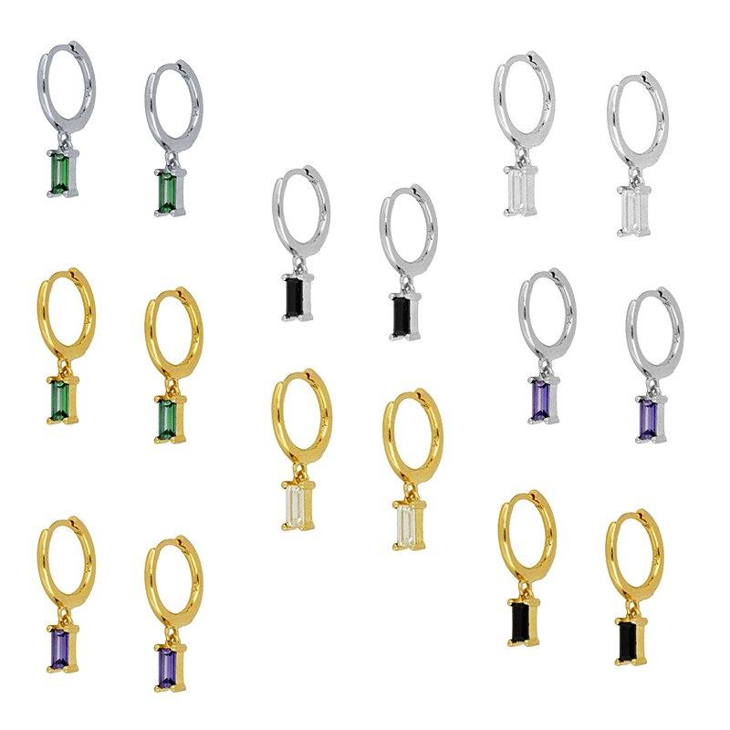 リアル925スターリングシルバーフープイヤリング女性のためのラウンドイヤリングミニマリストカラフルなジルコンシルバージュエリーpendientesギフト2020
