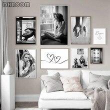 Affiche de mode noire et blanche pour femmes, peinture sur toile murale, photographie moderne, décoration de chambre de fille
