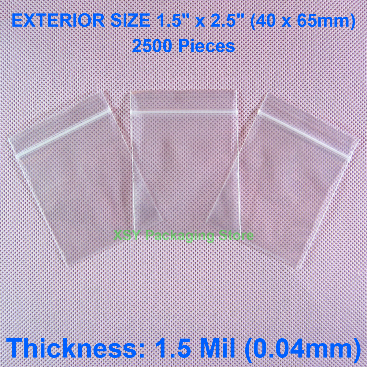 2500 Pieces 1.5 Mil Small Zipper Bags EXTERIOR SIZE 1.5