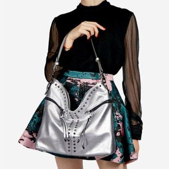 Fashion Rivet Women Shoulder Bags Large Capacity Ladies Hand Bags Pu Leather Women Messenger Crossbody Bag 2019 Bolsas Mujer New