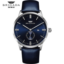 BRIGADA Brand Luxury mens  Watches Blue Steel Waterproof Leather Date Clock Male Casual Sport Cool Watch Gift Relogio Masculino