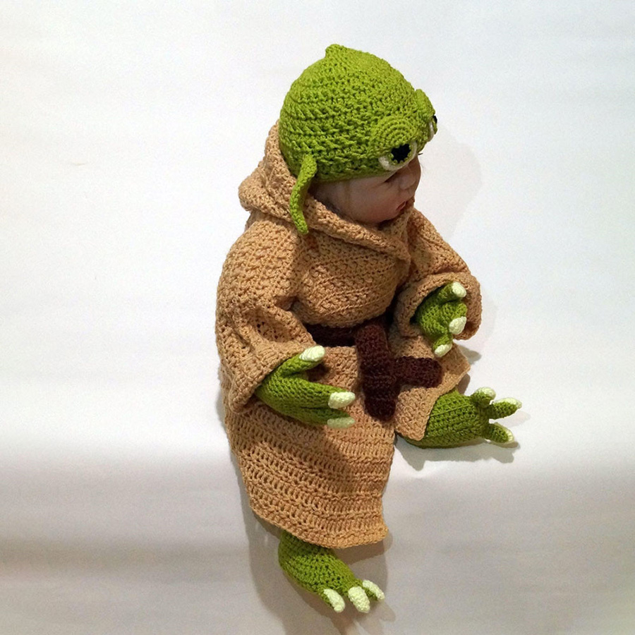 Yoda Style Newborn Infant Baby Photography Prop Crochet Knit Costume Set Handmade Toddler Cap Outfits for Baby Shower Gift (4)