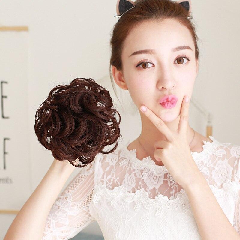 Lupu синтетические мягкие волосы кудрявый пучок женщин кудрявый Грязный серый коричневый цвет волос лента парик шиньон