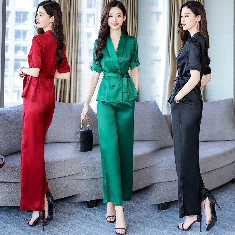 2019 Summer V-neck Short Sleeve Trend Simple Solid Color Set Slimming Slim Fit Versatile Elegant Fashion