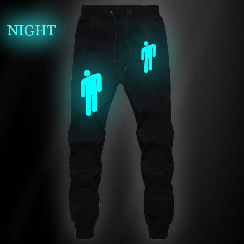 Billie Eilish Sports Pants Luminous Boys Girls Workout Pants Women Men Sports Trousers Mid Waist Trousers Luminous Pencil Pants
