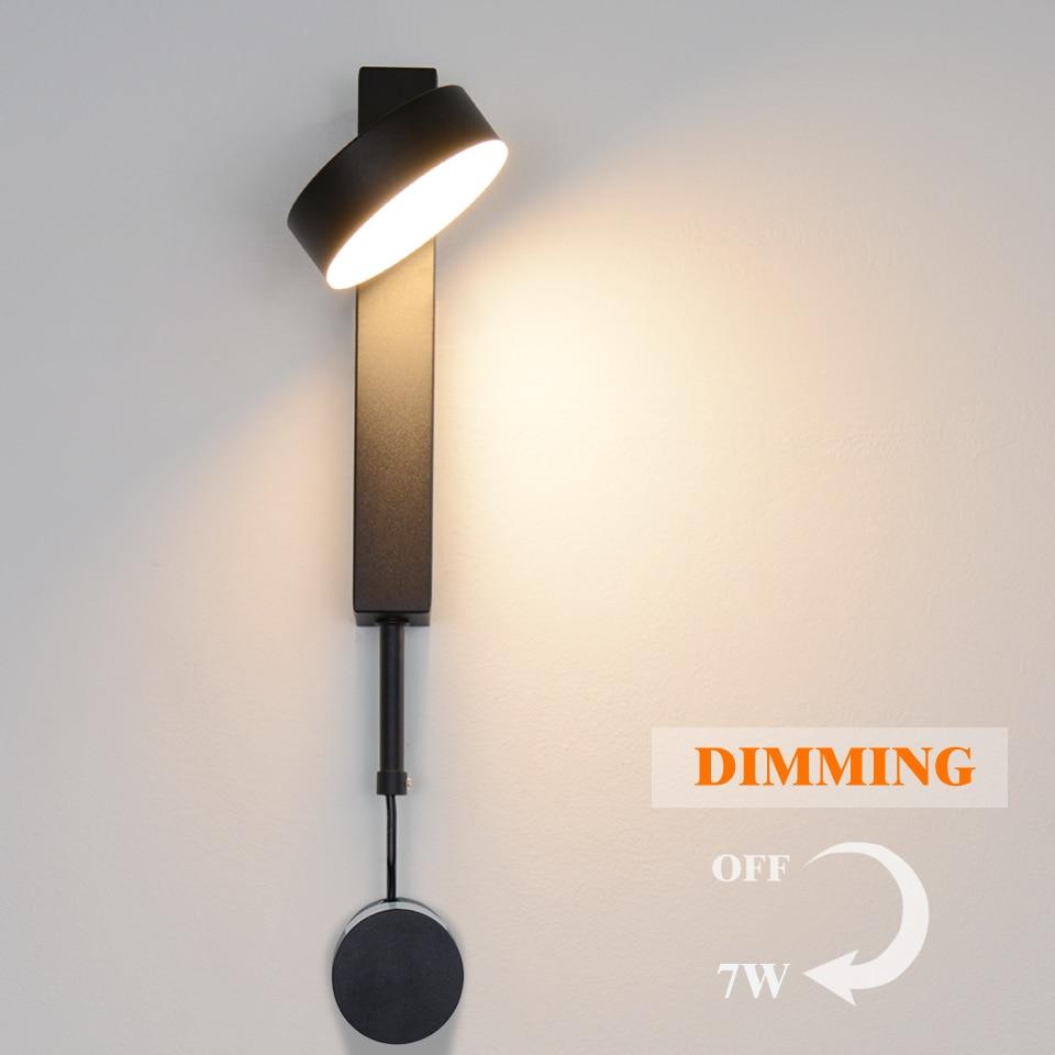 Светодиодный настенный светильник с переключателем, современный настенный светильник с регулируемой яркостью, скандинавский регулируемы