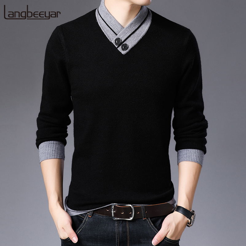 2019 New Fashion Brand Sweater For Mens Pullover Warm Slim Fit Jumpers Knitred Top Grade Autumn Korean Style Casual Men Clothes