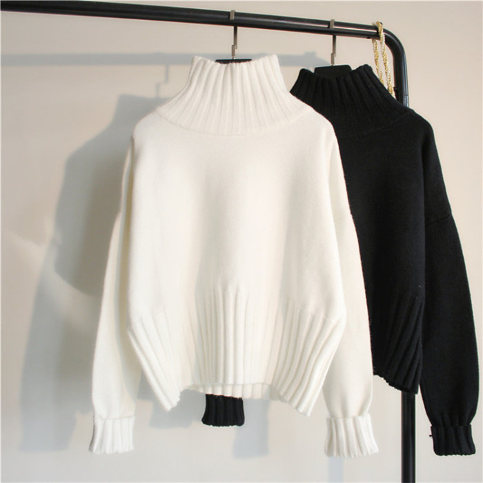Autumn Winter Women Turtleneck Sweater Casual Loose Pullover High Elasticity  Jumper Solid Female Sweater Clothes Warm Soft
