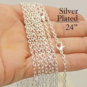 Image 1 - 100 шт 24 дюйма Цепочки и ожерелья цепь, серебряные цепи Роло Цепочки и ожерелья, 3 мм Серебряная цепочка, 60 см кабеля цепи, 24 Посеребренная цепи