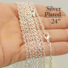100 pcs  Silver Plated 24 Inch Necklace Chain, 24 Inch Chain Necklace, 60cm Cable Necklace, Oval Link Cable Chain Bulk Wholesale