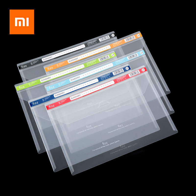 New Xiaomi Fizz Buckle Type A4 File Bag File Folder Stationery School Office Case PP 6colors