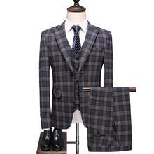 (Jackets+Vest+pants) 2020 New Men Suit 3 Pieces Fa