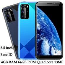 Quad core y9 face id 4g ram 64g rom desbloqueado 5mp + 13mp smartphones 5.5 polegada telefones celulares frente/câmera traseira wifi versão global