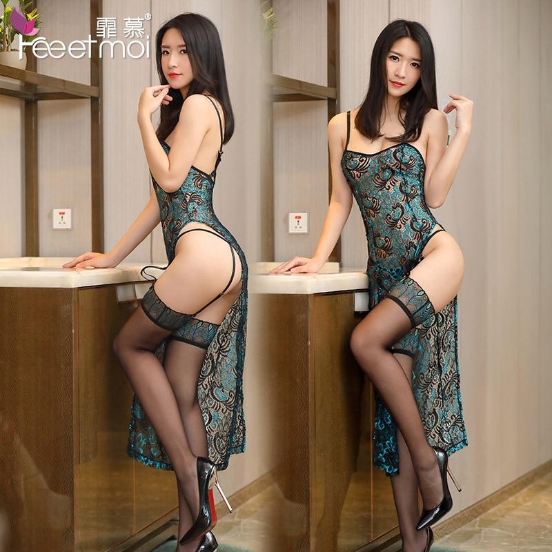 Sexy Woman Erotic Lingerie Hollow Embroidery Classic Cheongsam Suit Uniform Temptation Cute Sexy Erotic Women Lingerie Dress